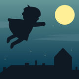 Superhero in the Moonlight. A little cute superhero boy flying over a city with a big moon in the sky. Eps file available Stock Images
