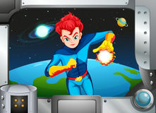 A superhero near the planets Stock Photos