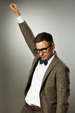 Superhero nerd in eyeglasses and bow tie Royalty Free Stock Photo