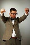 Superhero nerd in eyeglasses and bow tie Stock Photo
