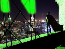 Superhero Night watch. On the top of a building, a superhero watches the city by night Royalty Free Stock Images