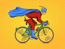 Superhero op een vector van het fiets grappige boek stock illustratie