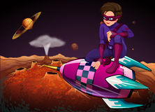 A superhero at the outerspace above a spaceship Royalty Free Stock Photography