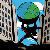 Superhero picking up planet Earth. Stock Images