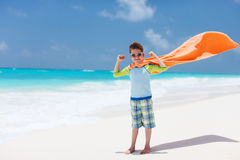Superhero play at a beach Royalty Free Stock Photo
