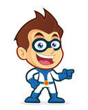 Superhero pointing his finger. Vector clipart picture of a superhero cartoon character pointing his finger Stock Photography