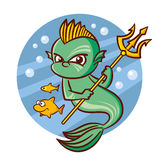 Superhero Poseidon and small fish Sticker Stock Photos