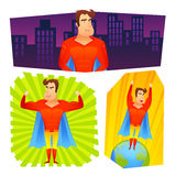 Superhero posters banners set. Superher fictional powerful cartoon character in red costume blue cape colorful banner set abstract isolated vector illustration Royalty Free Stock Image