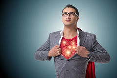 The superhero preparing himself for great things Stock Image