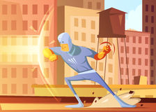 Superhero Protecting The City Illustration Royalty Free Stock Image