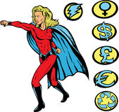 Superhero punch!. Superheroine punching, and any crests can be used Royalty Free Stock Image