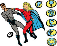 Superhero punch!. Superhero versus Villain.  with vector, both are fully drawn on separate layers, and can be moved. Hero and Villains Crest can be removed Stock Photo