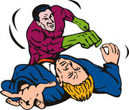 Superhero punching bad guy Royalty Free Stock Photos