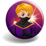 Superhero in purple costume on badge Stock Image