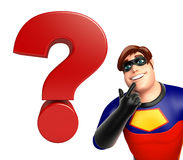 Superhero with Question mark sign stock image