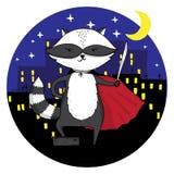 Superhero raccoon in a night city Royalty Free Stock Photography