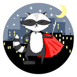 Superhero raccoon in a night city Royalty Free Stock Photo