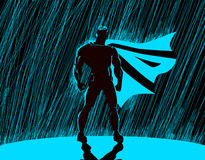 Superhero in rain. Superhero watching over the city vector illustration