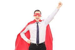 Superhero with raised fist Royalty Free Stock Images