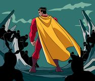 Superhero Ready for Battle. Rear view full length illustration of a cartoon brave superhero standing alone in confrontation with the forces of evil as concept Stock Photo