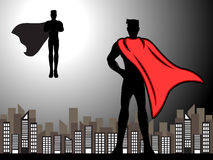 Superhero Ready For Fight Silhouette. A vector superhero ready for fight silhouette with shading effects Stock Image