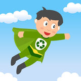 Superhero Recycle Boy. A cute little superhero recycle boy flying in the sky. Eps file available Royalty Free Stock Images