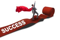 The superhero on the red carpet in success concept. Superhero on the red carpet in success concept Royalty Free Stock Photo