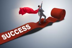 The superhero on the red carpet in success concept. Superhero on the red carpet in success concept Stock Photos