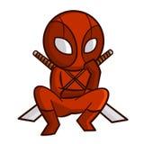 Superhero Red Ninja Sticker Royalty Free Stock Image