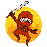 Superhero Red Ninja with a sword jumping Sticker Stock Photo