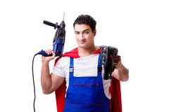 The superhero repairman isolated on white background Stock Image