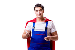 The superhero repairman isolated on white background Royalty Free Stock Images