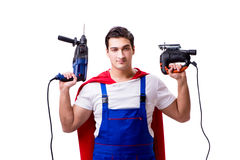 The superhero repairman isolated on white background Royalty Free Stock Photography