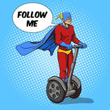 Superhero ride on electric transport vector Royalty Free Stock Images