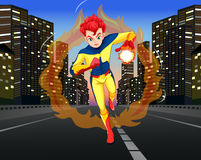 Superhero on the road in the city Stock Image