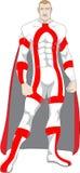Superhero in rood en wit Royalty-vrije Stock Afbeeldingen