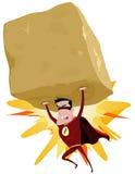 Superhero rouge soulevant la grande roche lourde illustration de vecteur