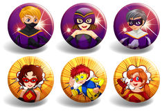 Superhero on round badges Stock Images