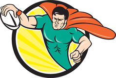 Superhero Rugby Player Scoring Try Circle. Cartoon style illustration of a superhero rugby player with ball scoring try set inside circle with sunburst in Stock Photos