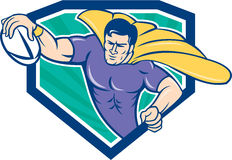 Superhero Rugby Player Scoring Try Crest. Cartoon style illustration of a superhero rugby player with ball scoring try set inside shield crest with sunburst in Royalty Free Stock Images