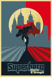 Superhero run from the city. Blue and red graphic poster. Royalty Free Stock Photo
