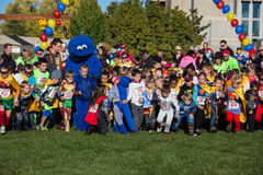 Superhero Run With Cookie Monsterh Royalty Free Stock Photo