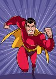 Superhero Running Fast. Full length front view of a powerful and muscular superhero running fast during courageous mission, on abstract background and some copy Stock Photography