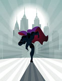 Superhero running in front of a urban background. Vector illustr Royalty Free Stock Images