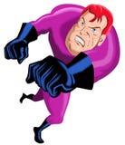 Superhero running punching Stock Image