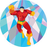 Superhero Running Punching Low Polygon Royalty Free Stock Photo