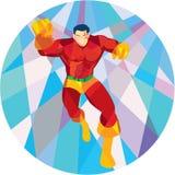 Superhero Running Punching Low Polygon Royalty Free Stock Photo