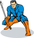 Superhero with samurai sword Stock Images