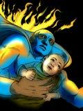 Superhero saving baby Royalty Free Stock Image