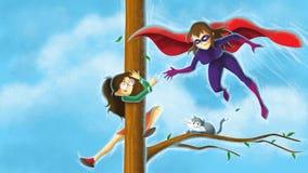 Superhero saving girl Stock Images
